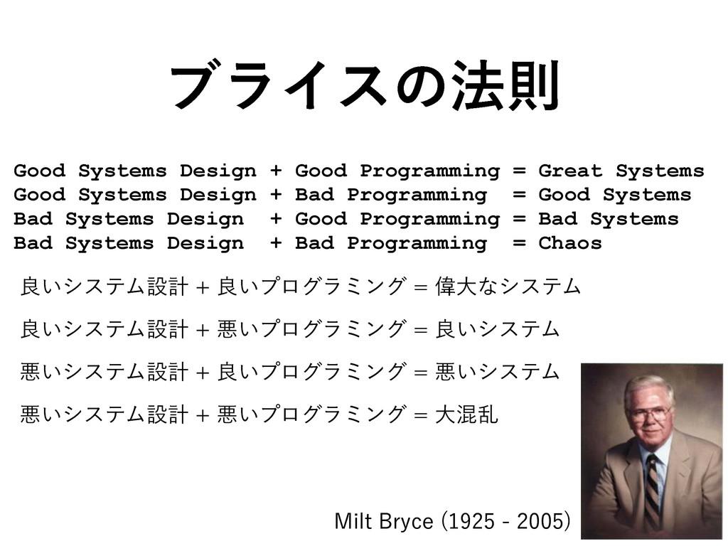 ϒϥΠεͷ๏ଇ Good Systems Design + Good Programming ...