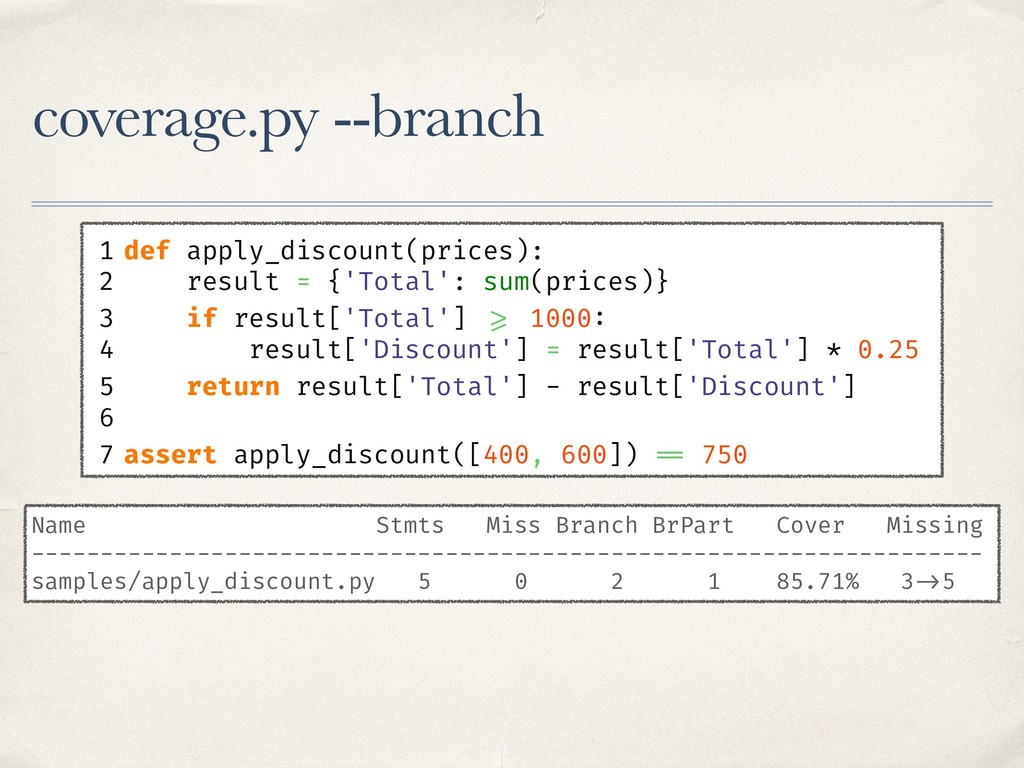coverage.py --branch 1 def apply_discount(price...