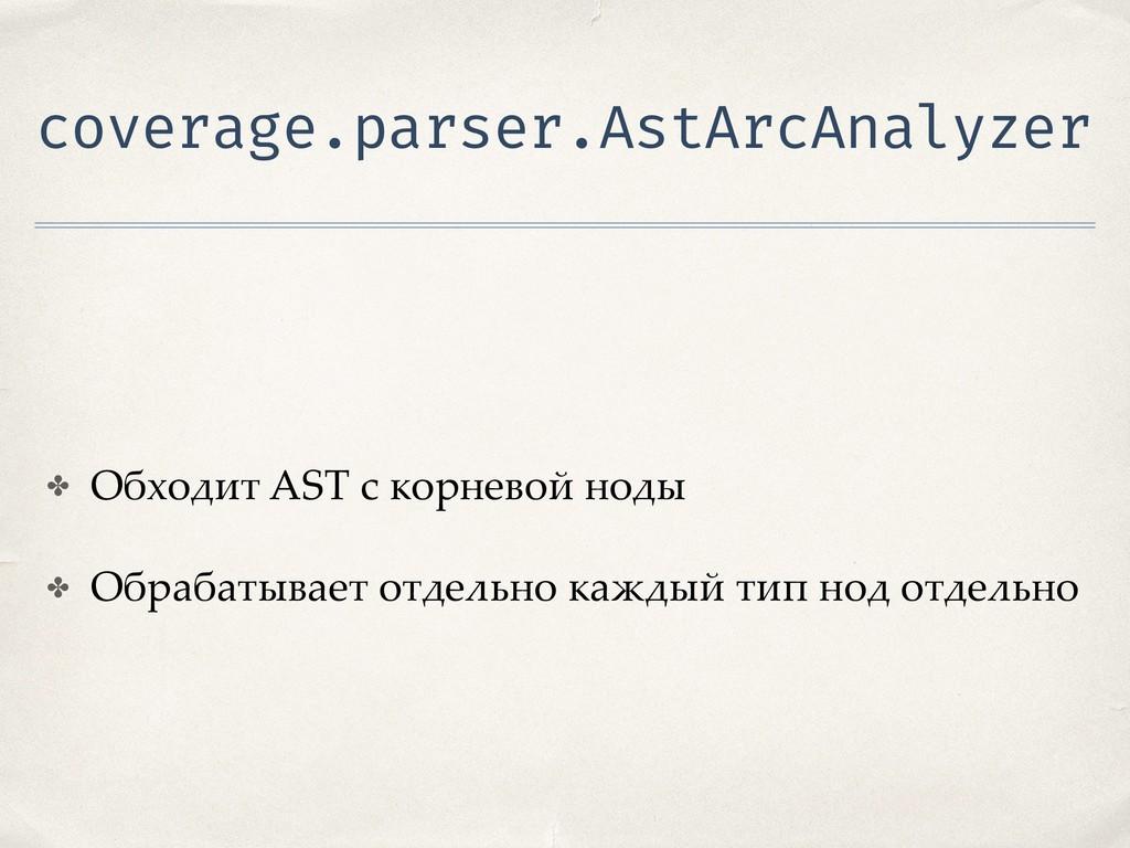 coverage.parser.AstArcAnalyzer ✤ Обходит AST с ...