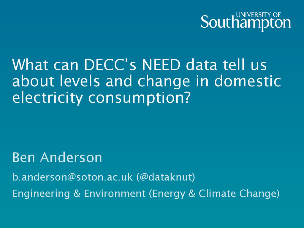What can DECC's NEED data tell us about levels ...