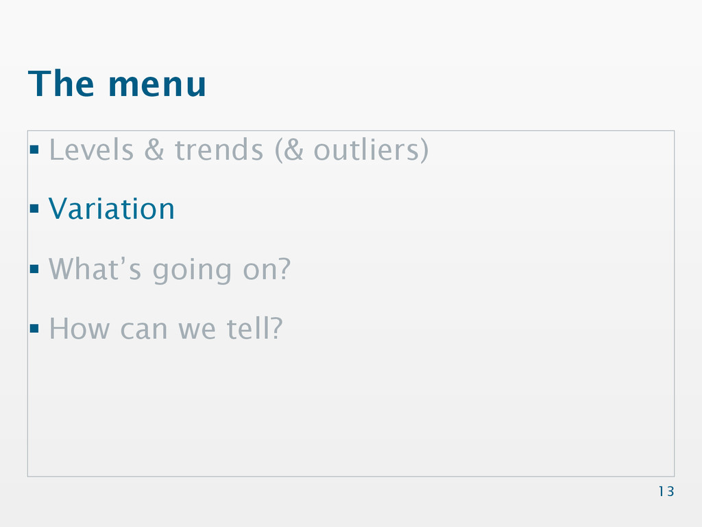 The menu §Levels & trends (& outliers) §Var...