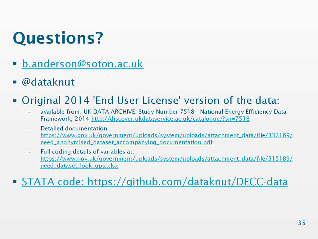 Questions? § b.anderson@soton.ac.uk § @data...