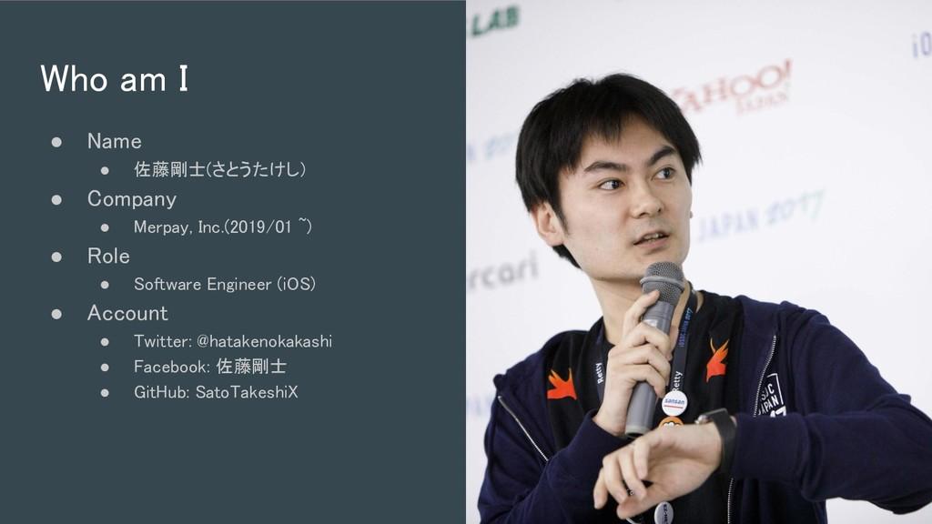 Who am I ● Name ● 佐藤剛士(さとうたけし)  ● Company ●...