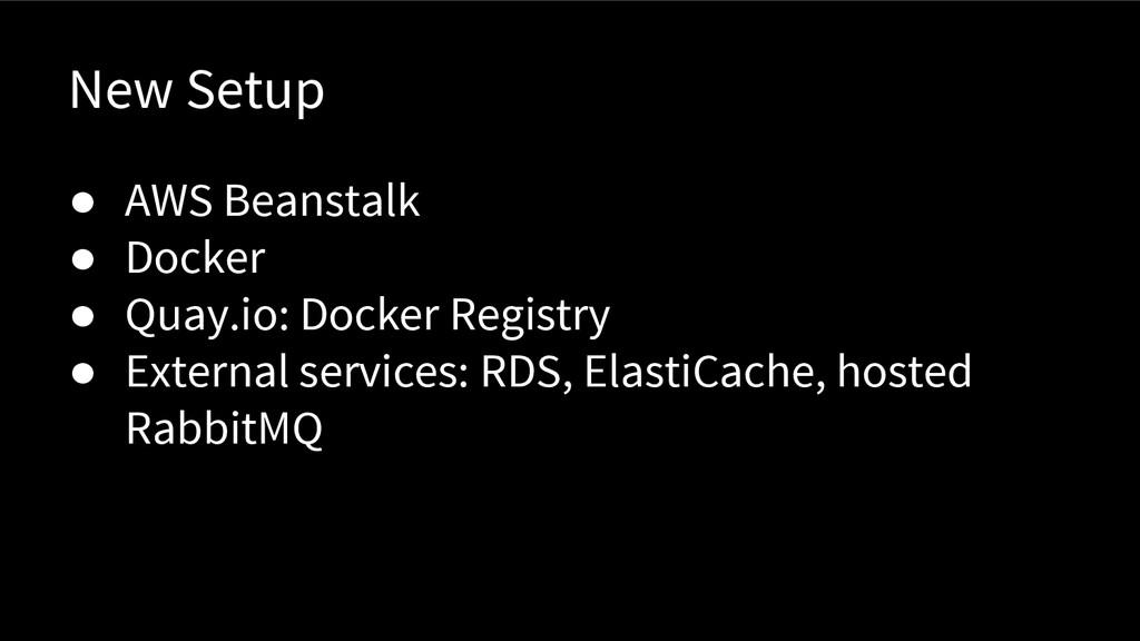 New Setup ● AWS Beanstalk ● Docker ● Quay.io: D...
