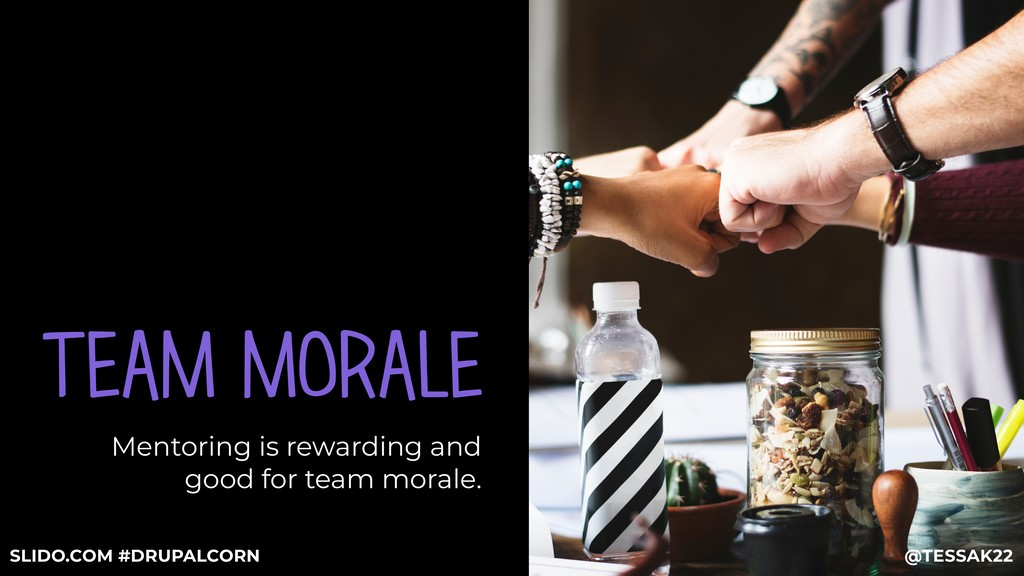 TEAM MORALE Mentoring is rewarding and good for...