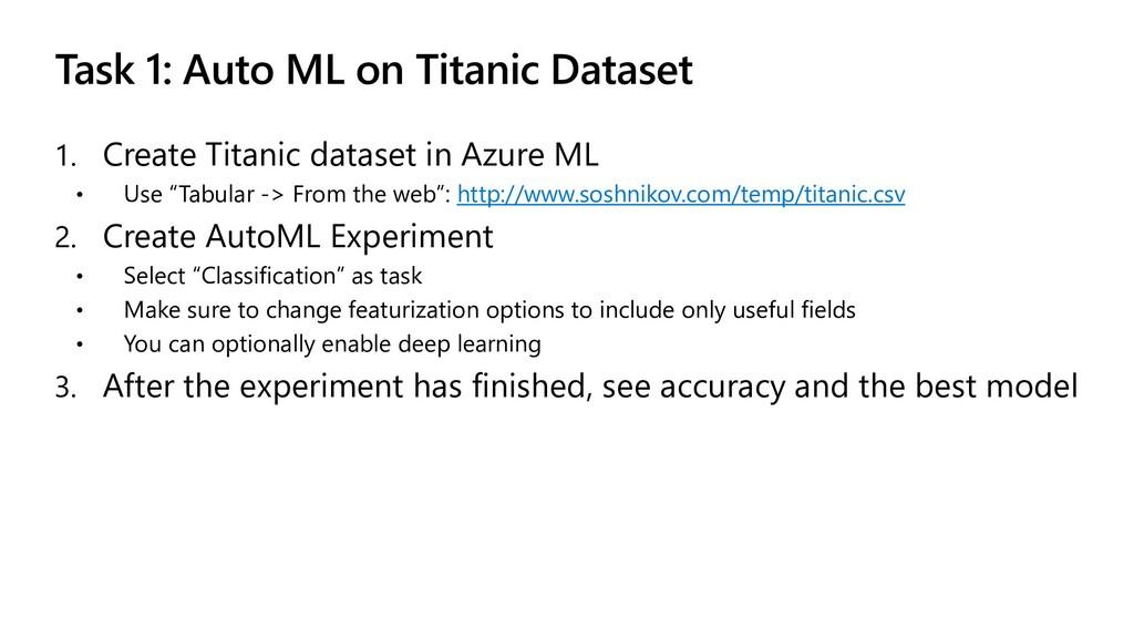 Task 1: Auto ML on Titanic Dataset 1. Create Ti...