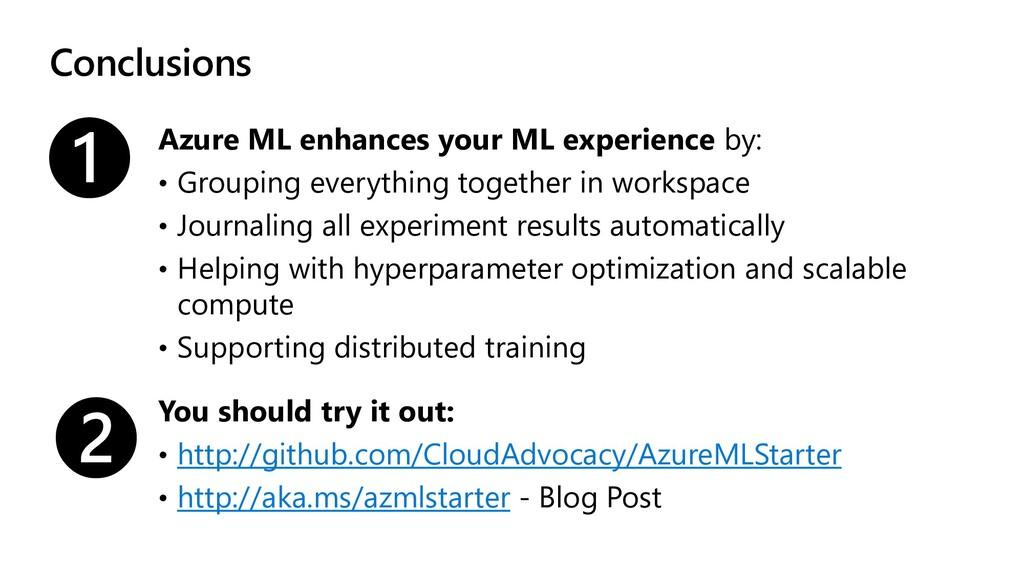 Conclusions Azure ML enhances your ML experienc...