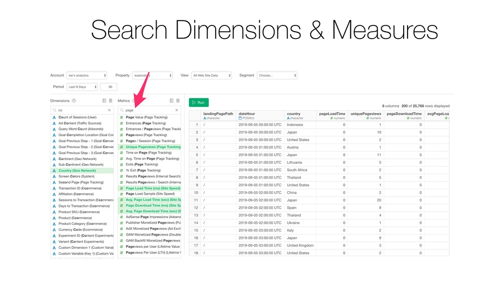 Search Dimensions & Measures