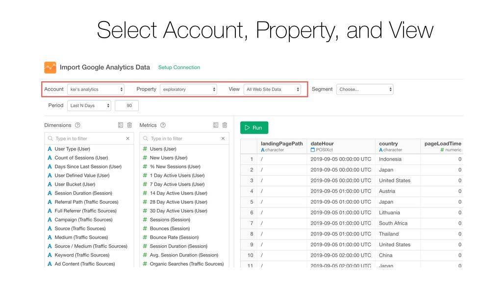 Select Account, Property, and View