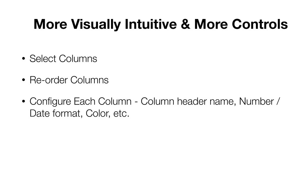 • Select Columns • Re-order Columns • Configure ...