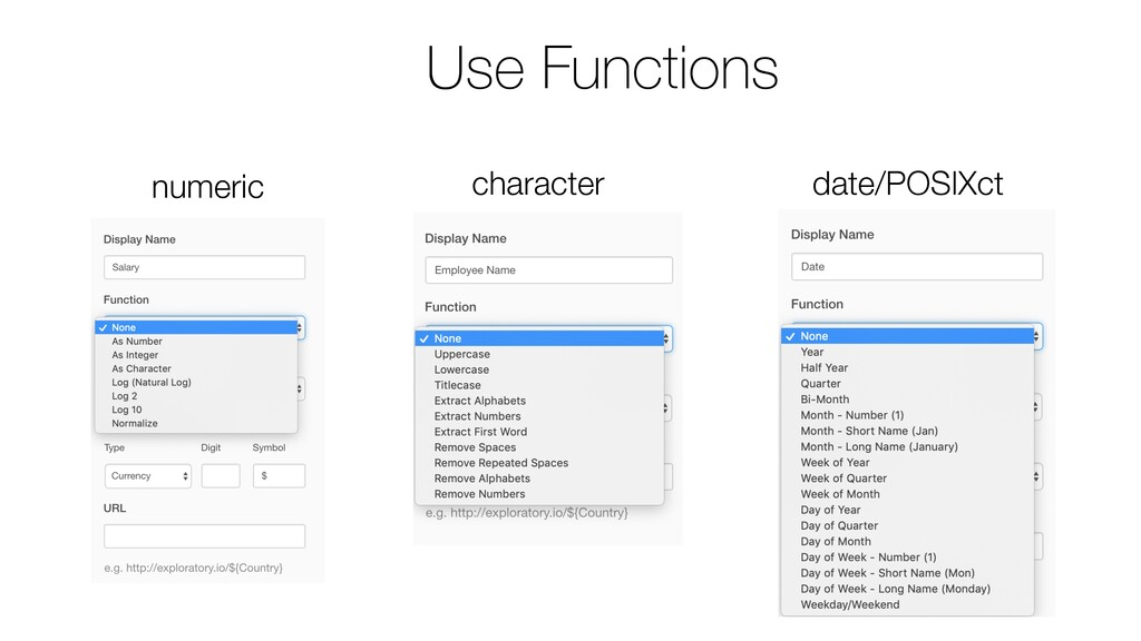Use Functions numeric character date/POSIXct