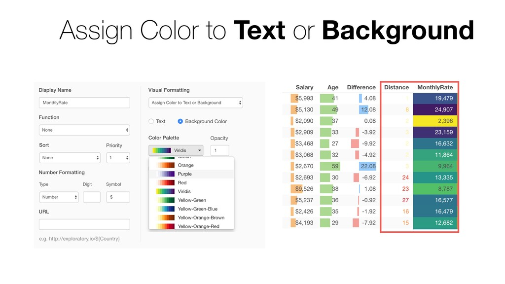 Assign Color to Text or Background