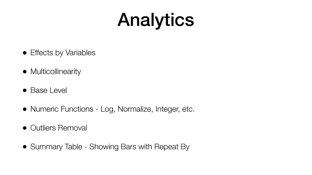 Analytics • Effects by Variables • Multicolline...