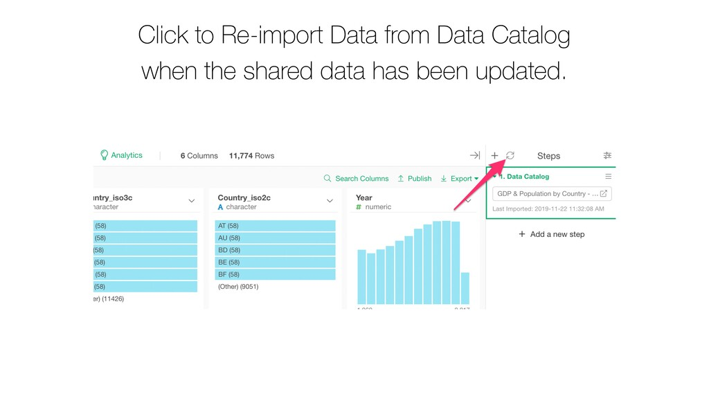 Click to Re-import Data from Data Catalog when ...