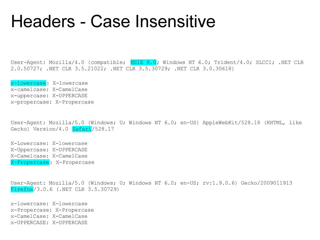 Headers - Case Insensitive User-Agent: Mozilla/...