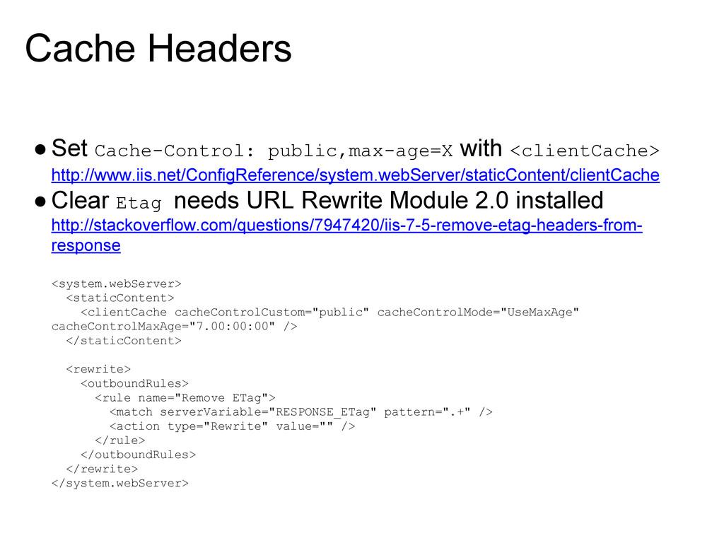 Cache Headers ●Set Cache-Control: public,max-ag...