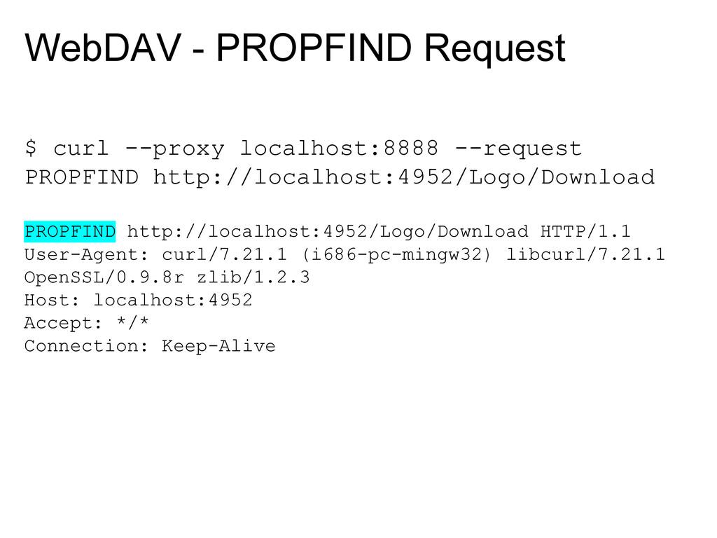 WebDAV - PROPFIND Request $ curl --proxy localh...