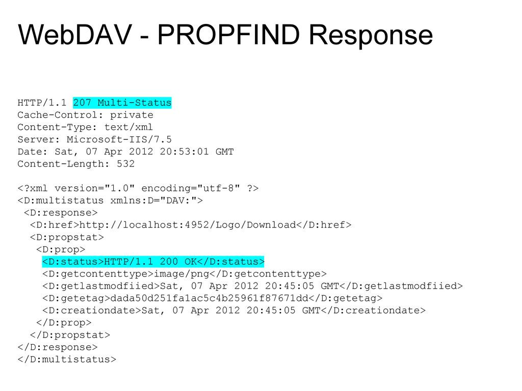 WebDAV - PROPFIND Response HTTP/1.1 207 Multi-S...