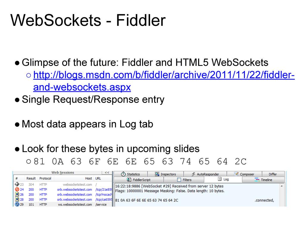WebSockets - Fiddler ●Glimpse of the future: Fi...