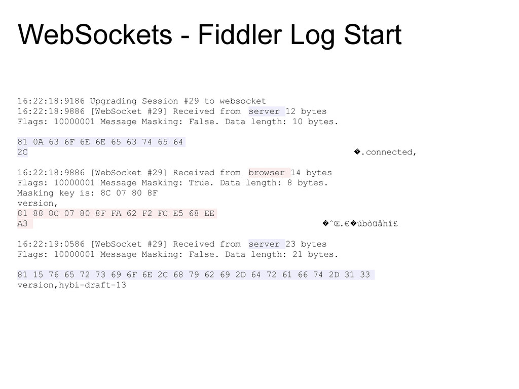 WebSockets - Fiddler Log Start 16:22:18:9186 Up...