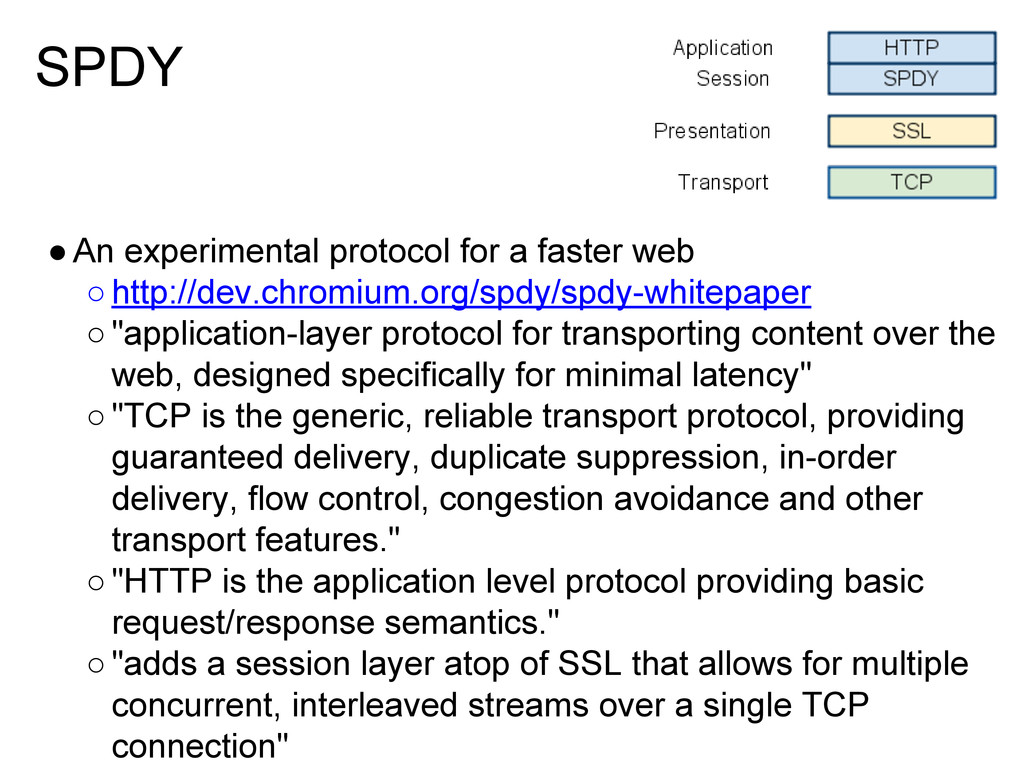 SPDY ●An experimental protocol for a faster web...