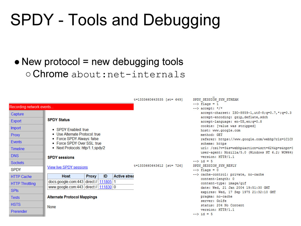 SPDY - Tools and Debugging ●New protocol = new ...