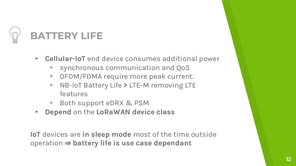 BATTERY LIFE ▸ Cellular-IoT end device consumes...