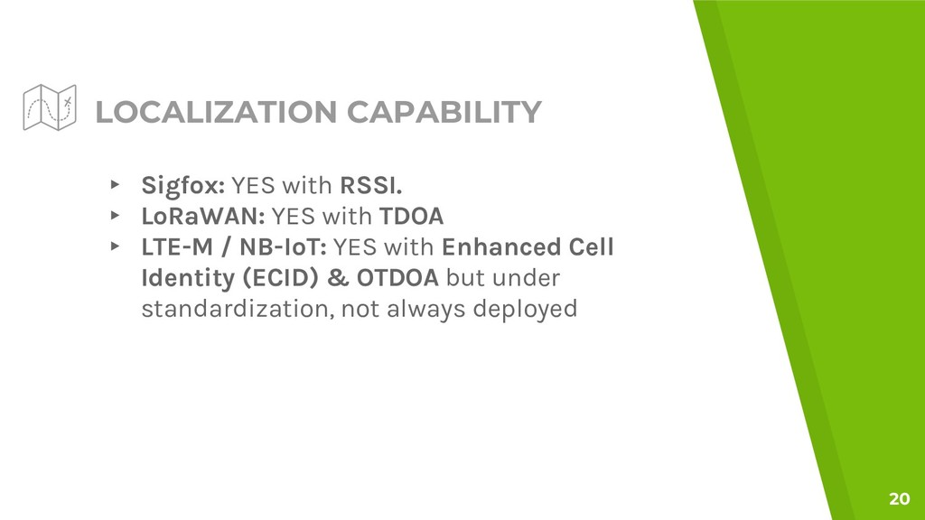 LOCALIZATION CAPABILITY ▸ Sigfox: YES with RSSI...