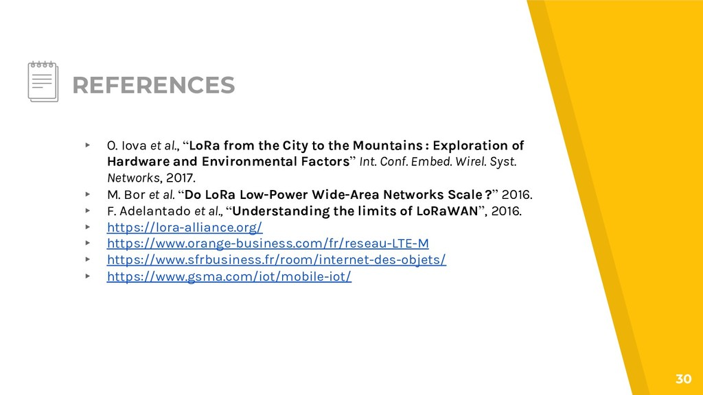 """REFERENCES ▸ O. Iova et al., """"LoRa from the Cit..."""