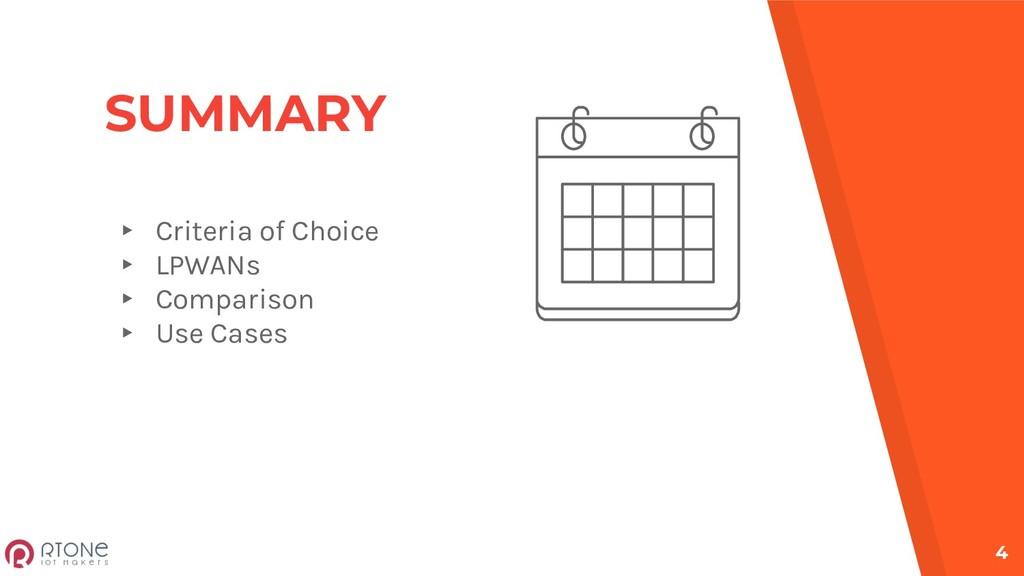 SUMMARY ▸ Criteria of Choice ▸ LPWANs ▸ Compari...