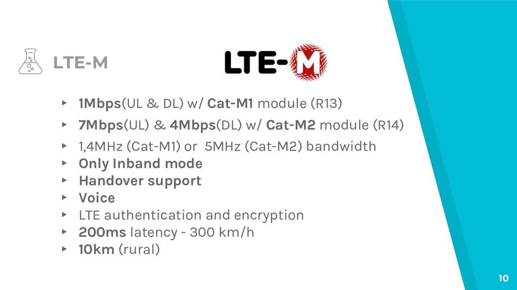 LTE-M ▸ 1Mbps(UL & DL) w/ Cat-M1 module (R13) ▸...