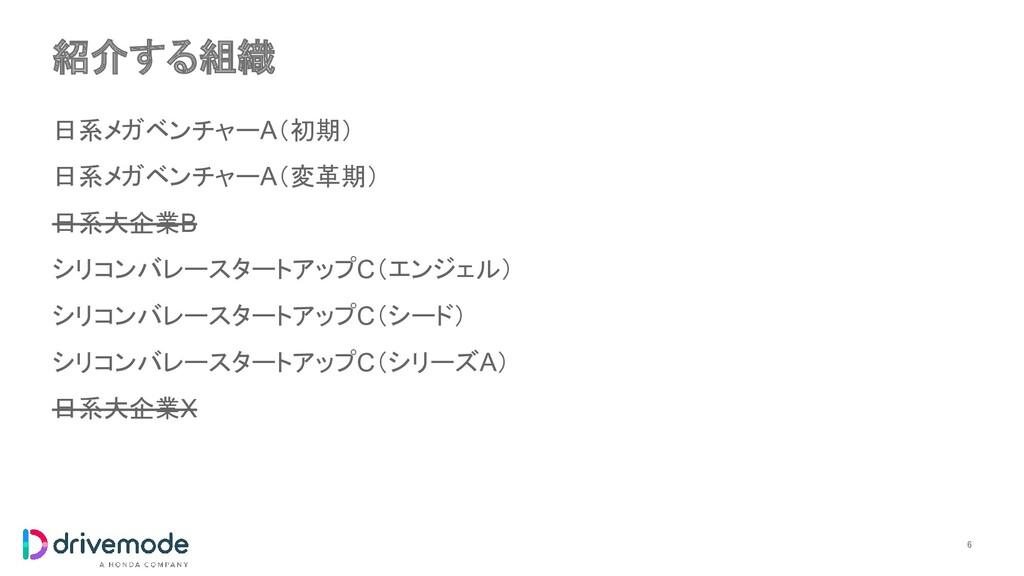 紹介する組織 6 日系メガベンチャーA(初期) 日系メガベンチャーA(変革期) 日系大企業B...