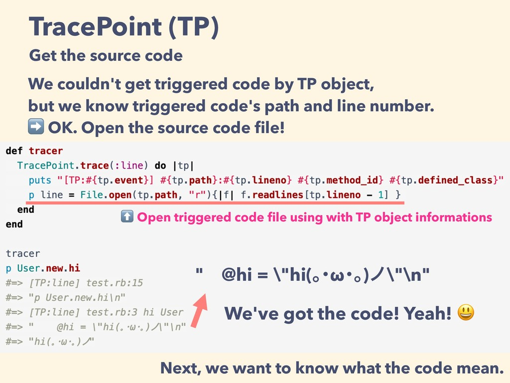 TracePoint (TP) Get the source code We couldn't...