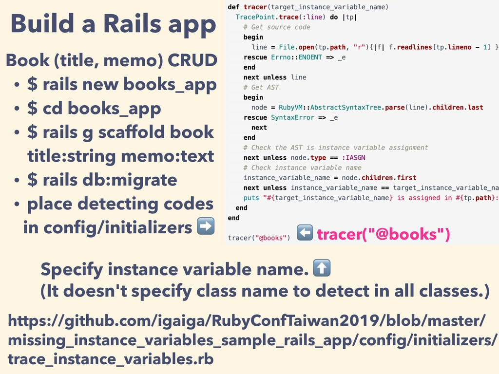 Build a Rails app Book (title, memo) CRUD • $ r...