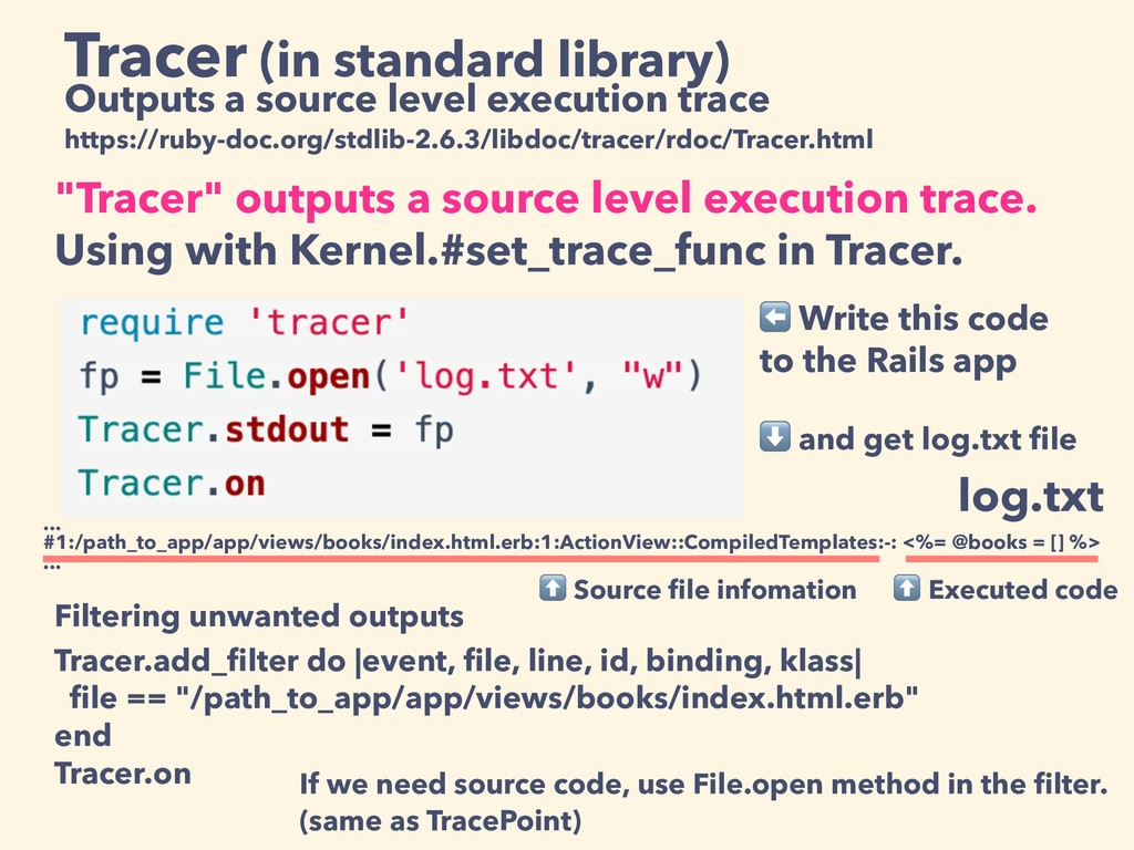 Tracer (in standard library) Outputs a source l...