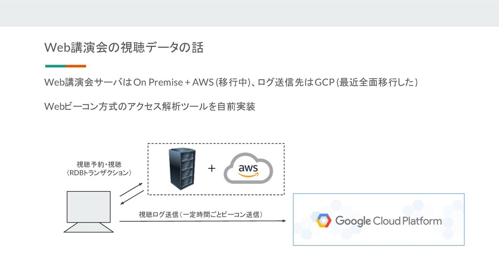 Web講演会サーバはOn Premise + AWS (移行中)、ログ送信先はGCP (最近全...