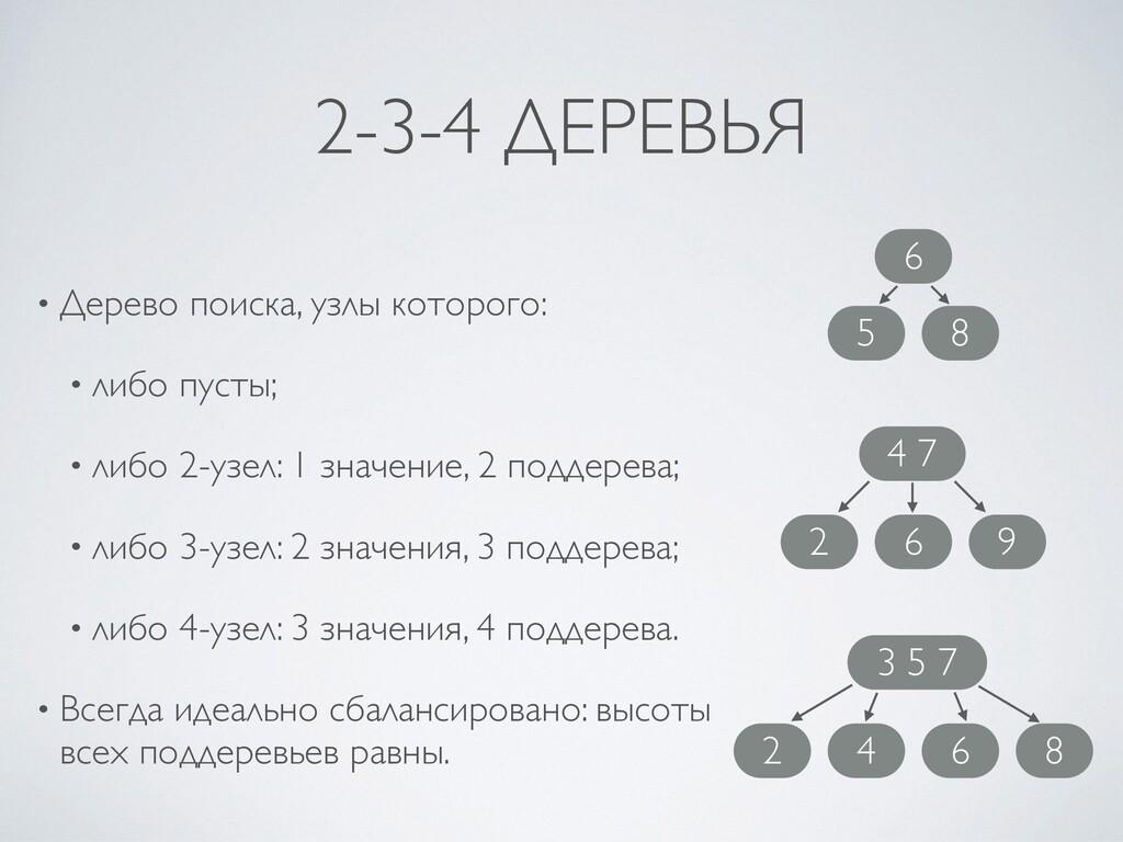 2-3-4 ДЕРЕВЬЯ • Дерево поиска, узлы которого : ...