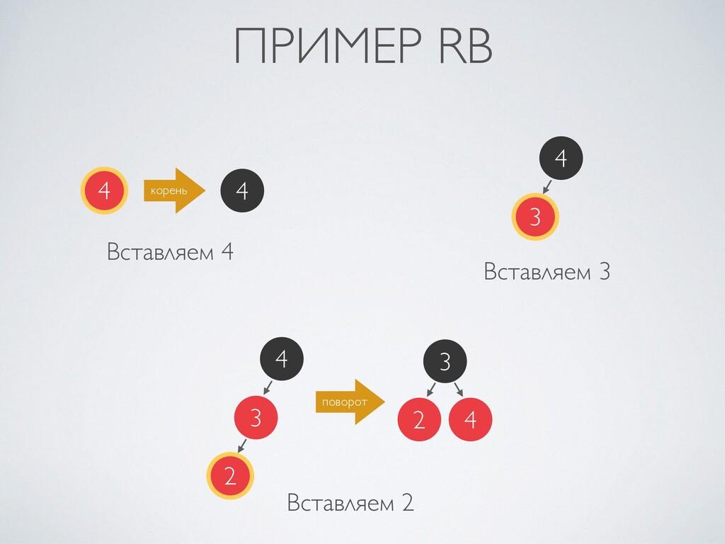 ПРИМЕР RB 4 Вставляем 4 корень 4 4 3 Вставляем ...