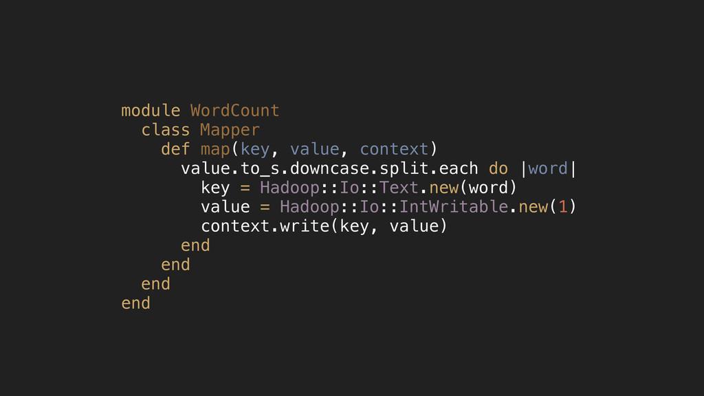 module WordCount class Mapper def map(key, valu...