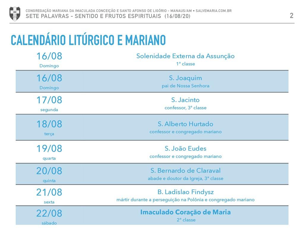 CALENDÁRIO LITÚRGICO E MARIANO 2 CONGREGAÇÃO MA...