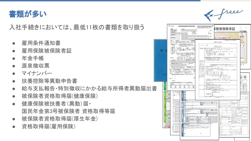 7 書類が多い 入社手続きにおいては、最低11枚の書類を取り扱う ● 雇用条件通知書 ● 雇用...