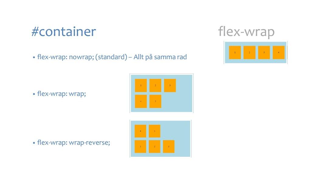 #container flex-wrap • flex-wrap: nowrap; (stan...