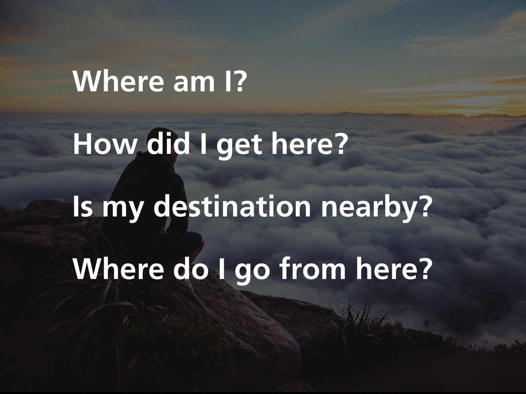 Where am I? How did I get here? Is my destinati...