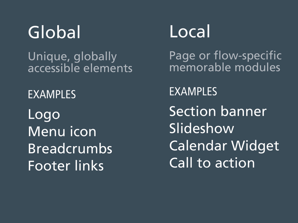 Global Unique, globally accessible elements EXA...