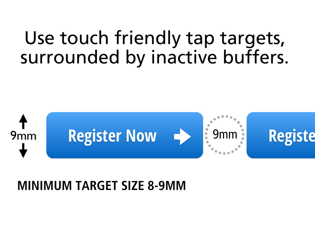Use touch friendly tap targets, surrounded by i...