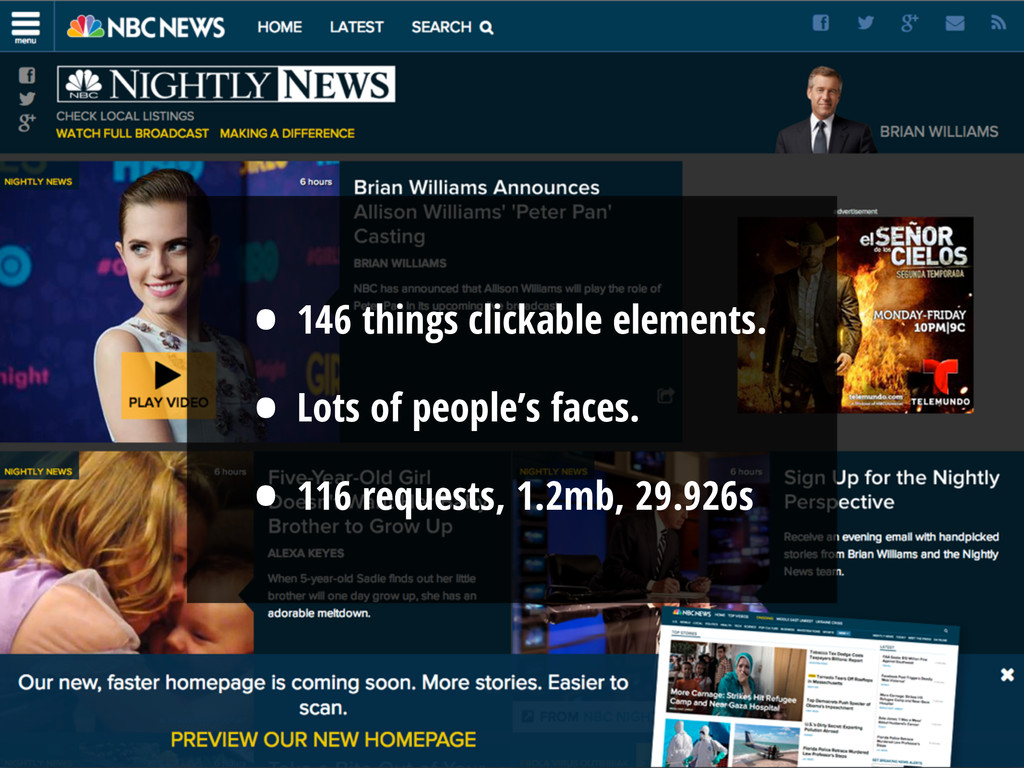 • 146 things clickable elements. • Lots of peop...