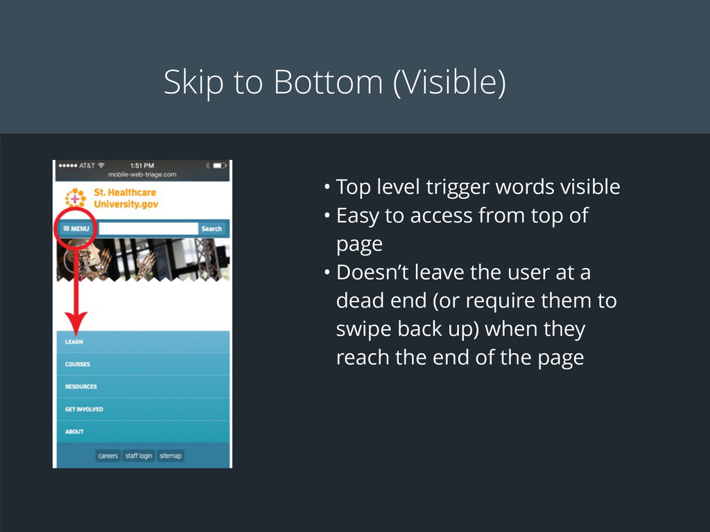 Skip to Bottom (Visible) • Top level trigger wo...