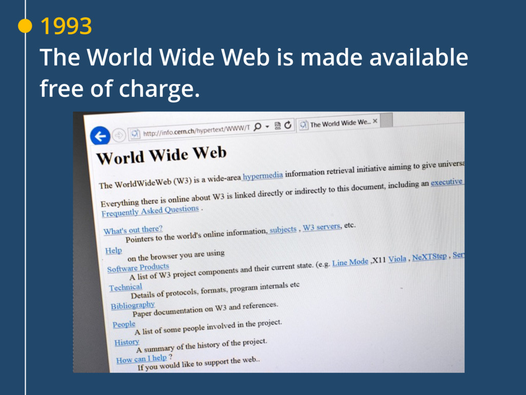 1993 The World Wide Web is made available free ...