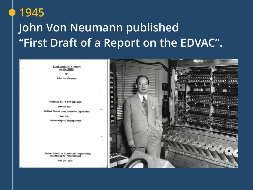 """1945 John Von Neumann published """"First Draft of..."""