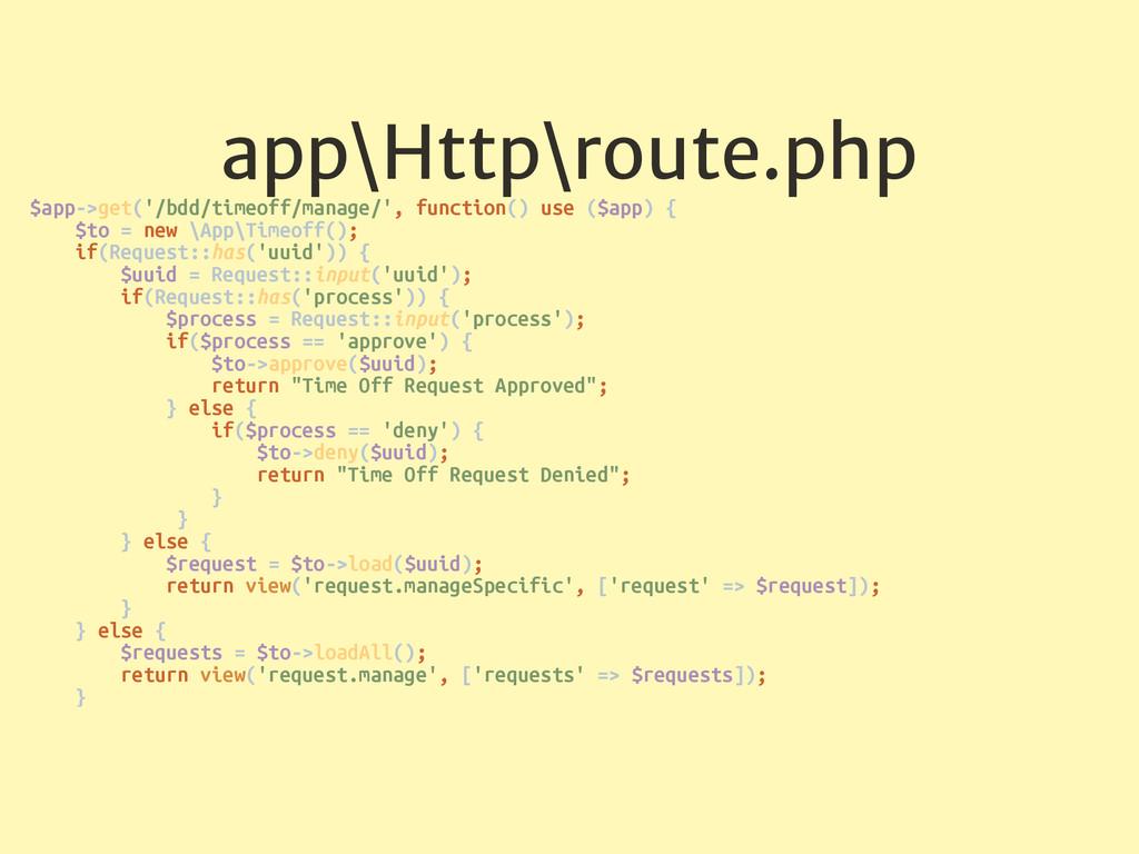 app\Http\route.php $app->get('/bdd/timeoff/mana...